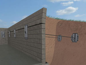 A graphic illustration of a foundation wall system installed in Irvine