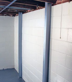 A PowerBrace™ i-beam foundation wall repair system in Calgary