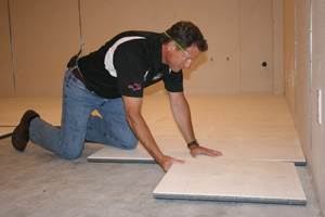 Insulated basement subfloor installation in Red Deer