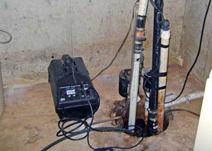 Pedestal sump pump system installed in a home in Didsbury