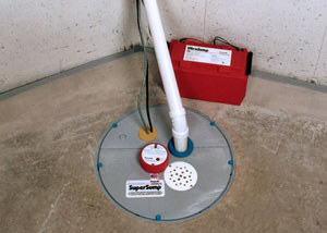 A sump pump system with a battery backup system installed in Irvine