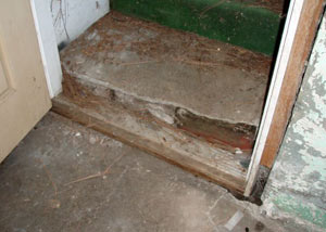 A flooded basement in Tilley where water entered through the hatchway door