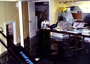 A laundry room flood in Lacombe, with several feet of water flooded in.