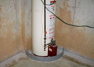 A water heater in Innisfail that's been protected by the FloodRing® and a perimeter drain system.