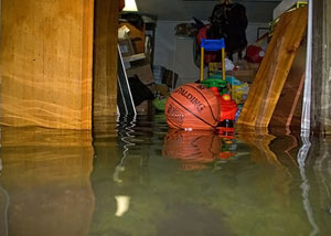 A flooded basement bedroom in Calgary