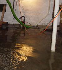 Several feet of floodwaters in a Calgary basement