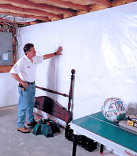 Plastic 20-mil vapor barrier for dirt basements, High River, Alberta installation