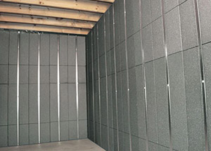 SilverGlo™ insulation and metal studs making up our Basement to Beautiful panels.  Installed in Airdrie.