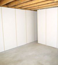 Unfinished basement insulated wall covering in High River, Alberta