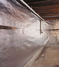 Radiant heat barrier and vapor barrier for finished basement walls in High River, Alberta